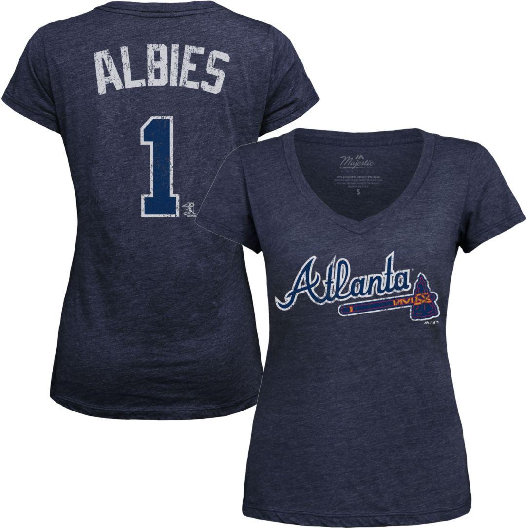 purchase cheap d79f9 1e9fe Majestic Threads Women's Atlanta Braves Ozzie Albies V-Neck T-Shirt