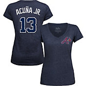 Majestic Threads Women's Atlanta Braves Ronald Acuña Navy V-Neck T-Shirt
