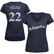 Majestic Threads Women's Milwaukee Brewers Christian Yelich V-Neck T-Shirt
