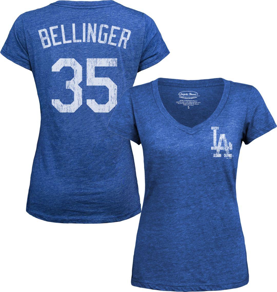 fa122524 Majestic Threads Women's Los Angeles Dodgers Cody Bellinger Royal V-Neck  T-Shirt