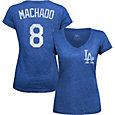 Majestic Threads Women's Los Angeles Dodgers Manny Machado Royal V-Neck T-Shirt