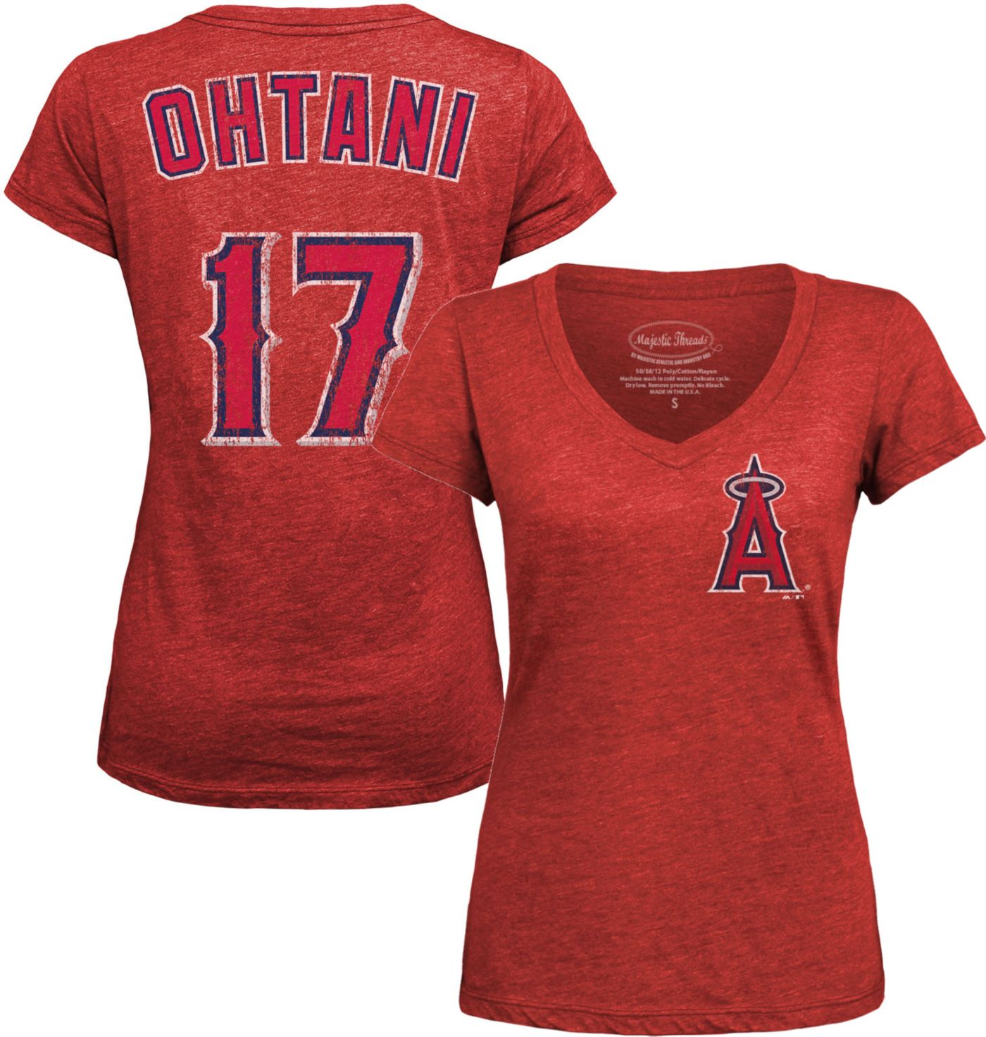 Majestic Threads Women's Los Angeles Angels Shohei Ohtani Red V-Neck T-Shirt