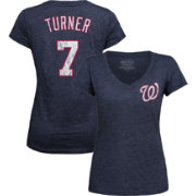 Majestic Threads Women's Washington Nationals Trea Turner Navy V-Neck T-Shirt