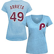Majestic Threads Women's Philadelphia Phillies Jake Arrieta V-Neck T-Shirt