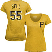 Majestic Threads Women's Pittsburgh Pirates Josh Bell Gold V-Neck T-Shirt