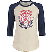 Majestic Threads Women's 2018 World Series Champions Boston Red Sox Raglan Three-Quarter Sleeve Shirt