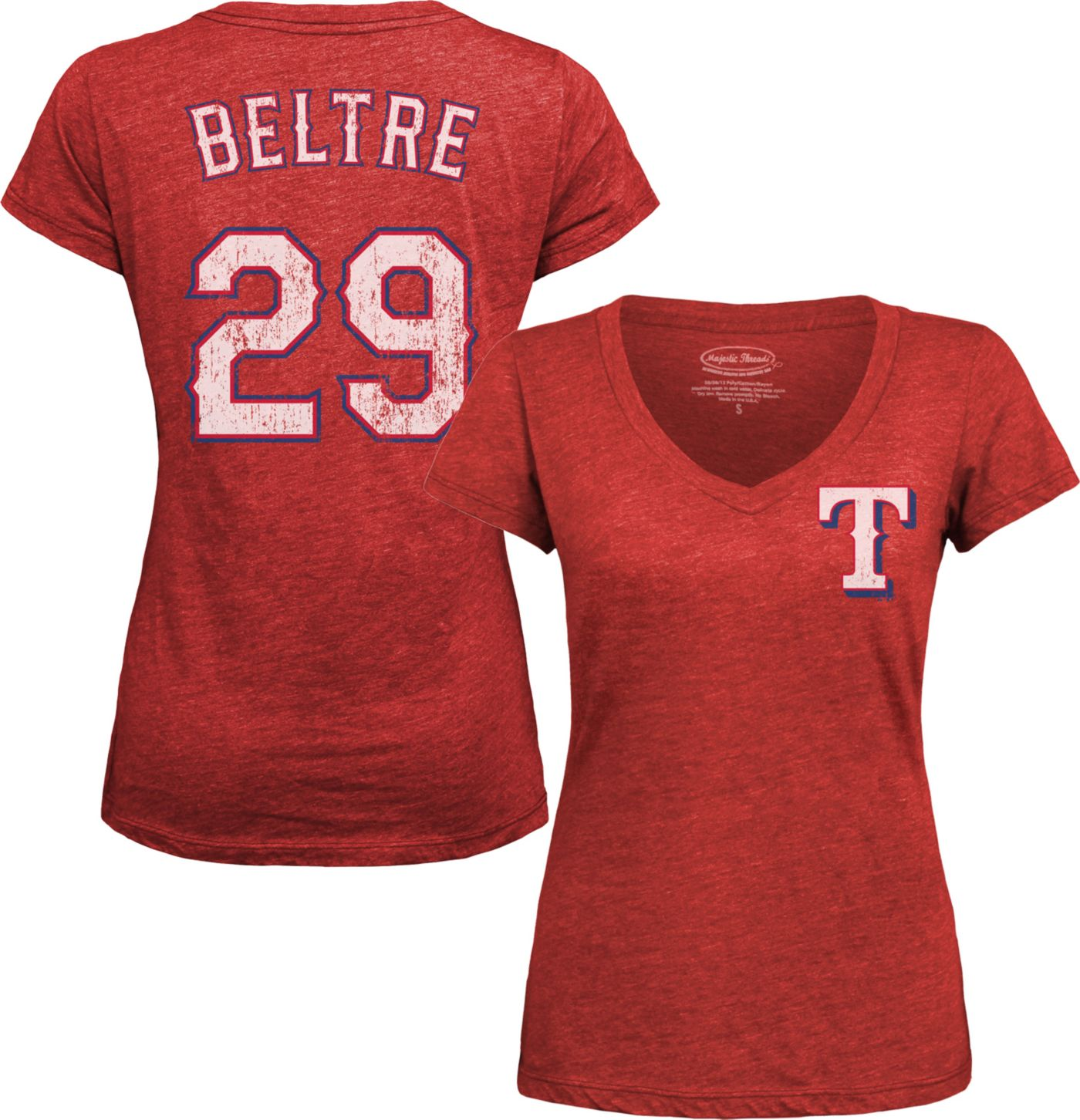 Majestic Threads Women's Texas Rangers Adrian Beltre Red V-Neck T-Shirt