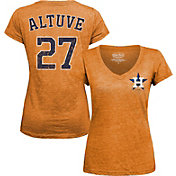 Majestic Threads Women's Houston Astros Jose Altuve Orange V-Neck T-Shirt
