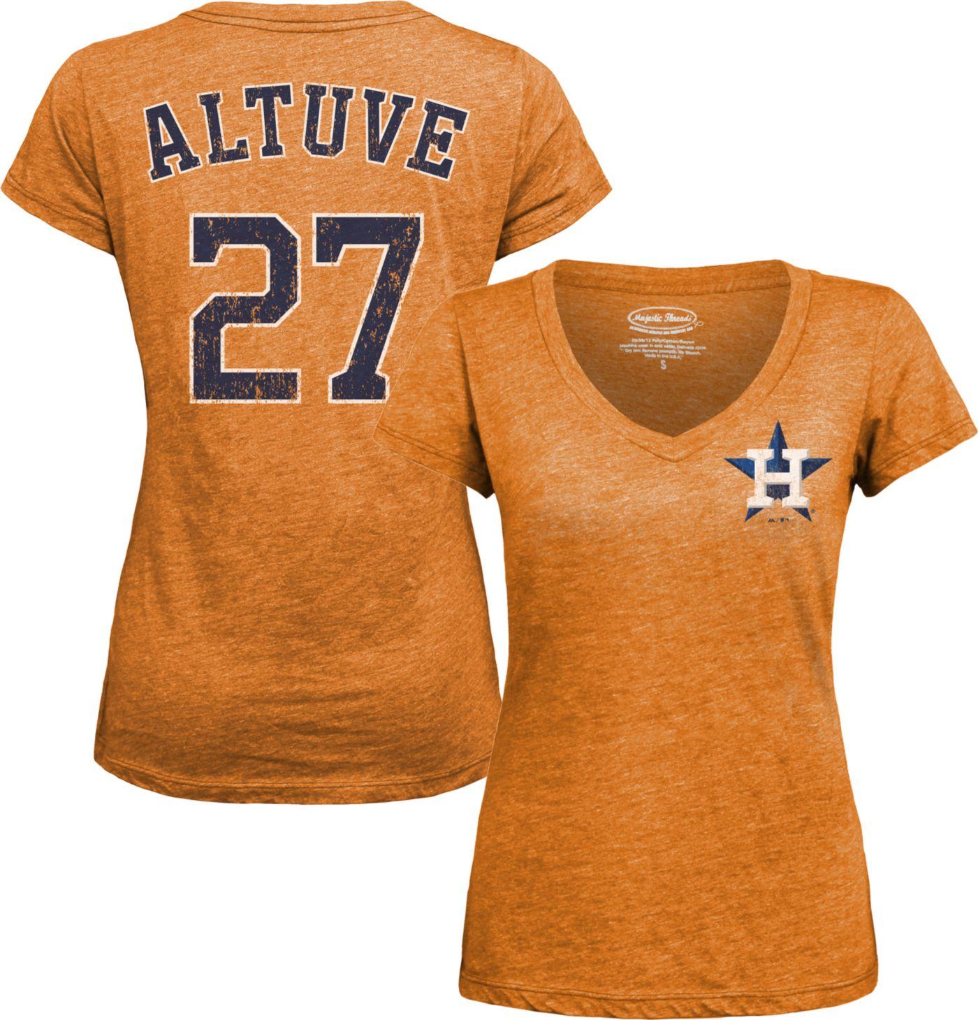 Majestic Threads Women's Houston Astros Jose Altuve Orange V-Neck T-Shirt