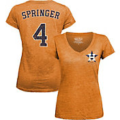 Majestic Threads Women's Houston Astros George Springer Orange V-Neck T-Shirt