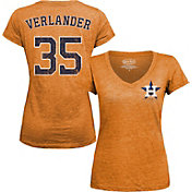 Majestic Threads Women's Houston Astros Justin Verlander Orange V-Neck T-Shirt