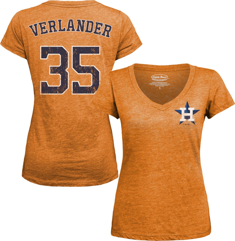 Majestic Threads Women's Houston Astros Justin Verlander Orange V-Neck T-Shirt