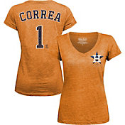 Majestic Threads Women's Houston Astros Carlos Correa Orange V-Neck T-Shirt