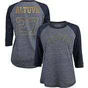 Majestic Threads Women's Houston Astros Jose Altuve #27 Championship Gold Raglan Three-Quarter Shirt