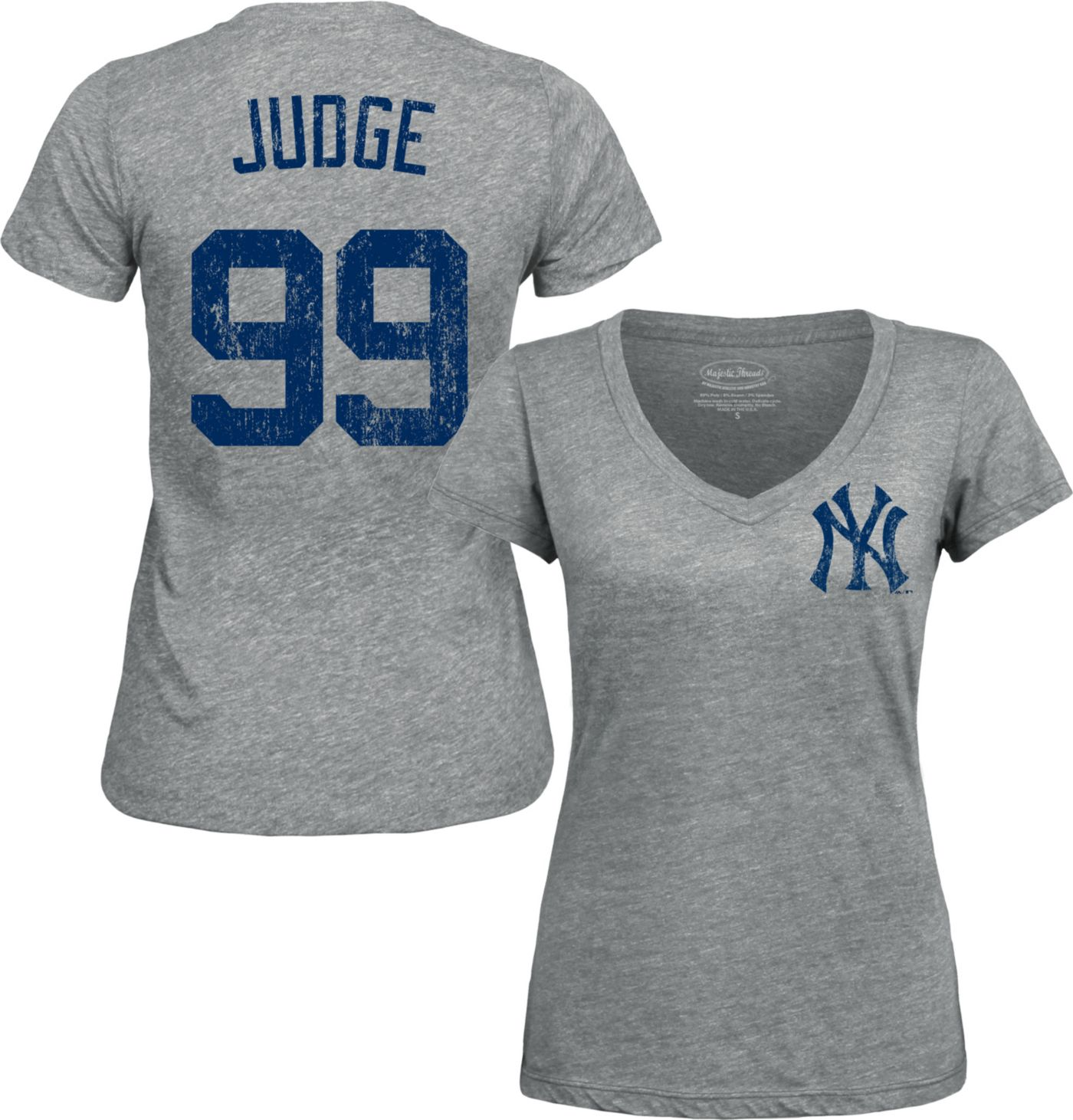 Majestic Threads Women's New York Yankees Aaron Judge Grey V-Neck T-Shirt