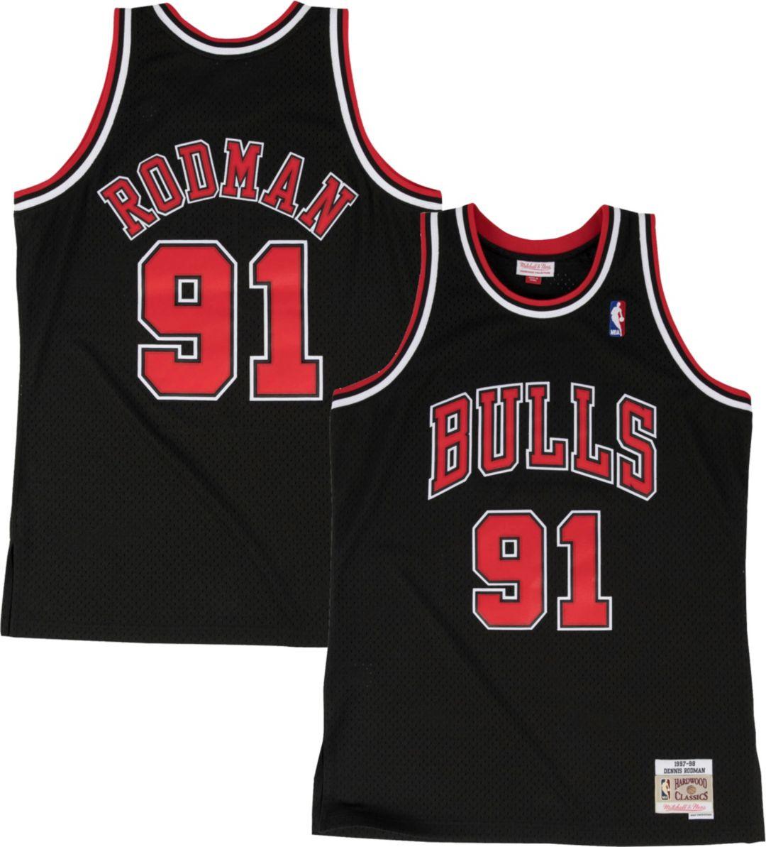 sale retailer e9ee8 0b92a Mitchell & Ness Men's Chicago Bulls Dennis Rodman #91 Hardwood Classics  Swingman Jersey