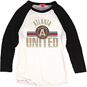Mitchell & Ness Women's Atlanta United Victory White/Black Raglan T-Shirt