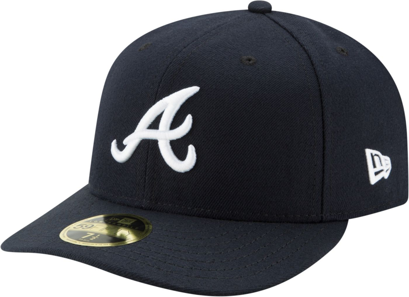 New Era Men's Atlanta Braves 59Fifty Road Navy Low Crown Fitted Hat