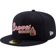 New Era Men's Atlanta Braves 59Fifty Metal Logo Navy Authentic Hat