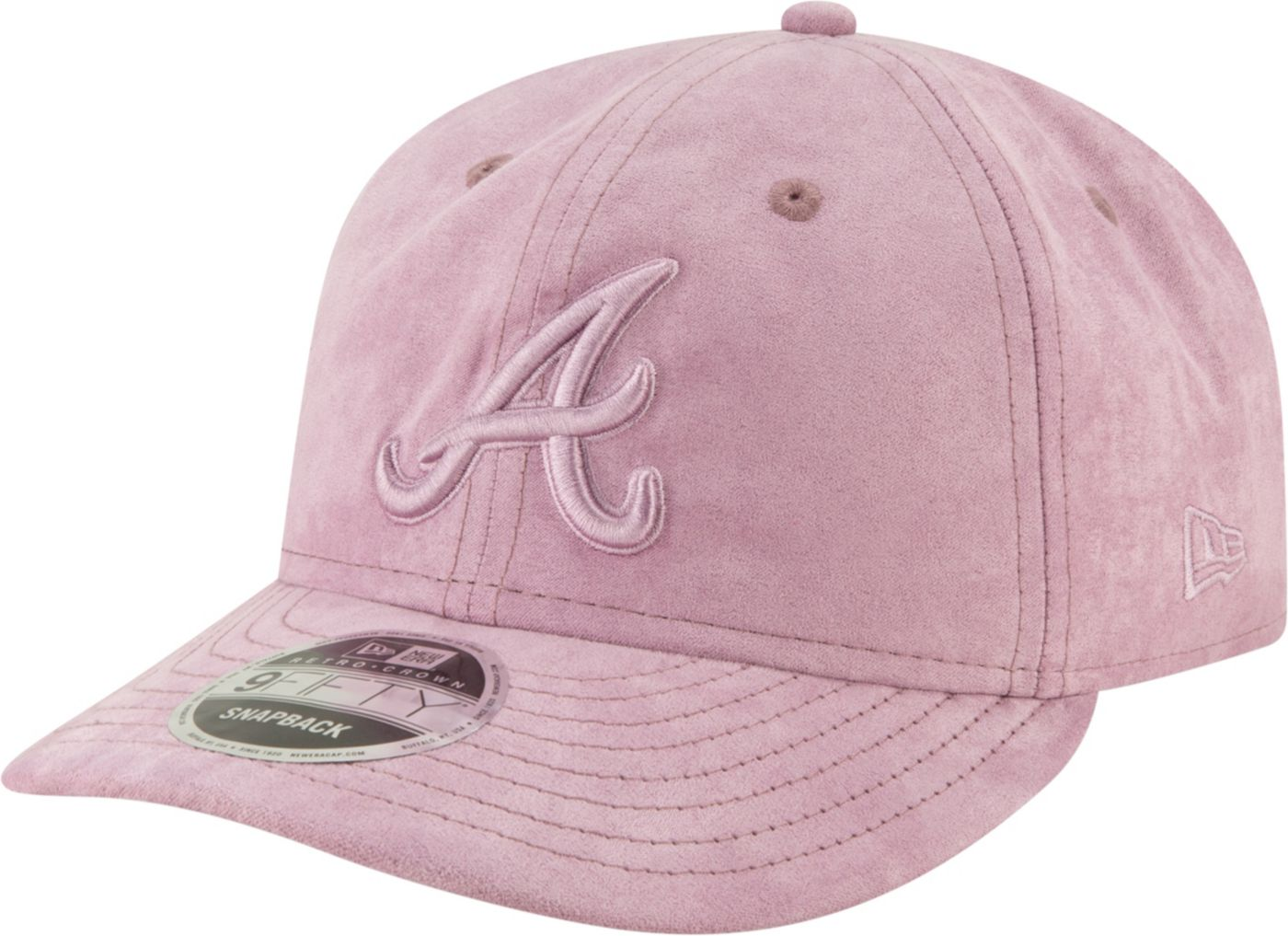 New Era Men's Atlanta Braves 9Fifty Suede Retro Pink Adjustable Snapback Hat