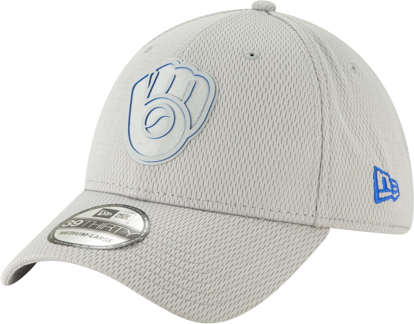 New Era Men's Milwaukee Brewers 39Thirty Clubhouse Grey Stretch Fit Hat