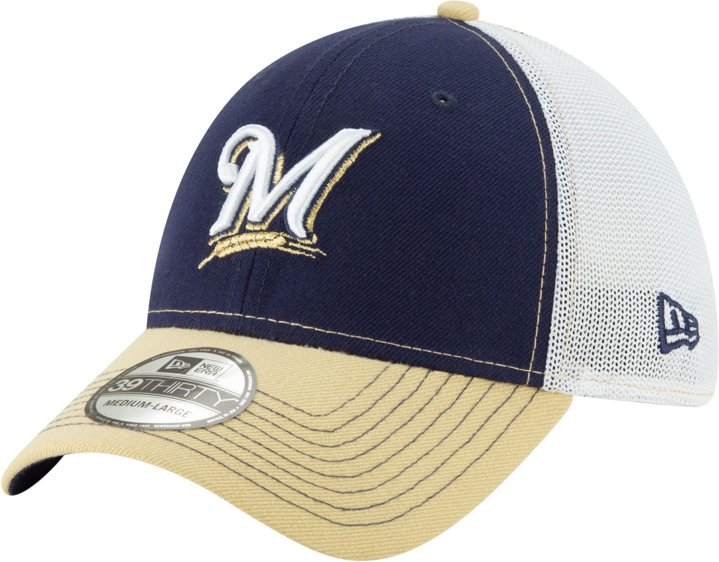 New Era Men's Milwaukee Brewers 39Thirty Practice Piece Stretch Fit Hat