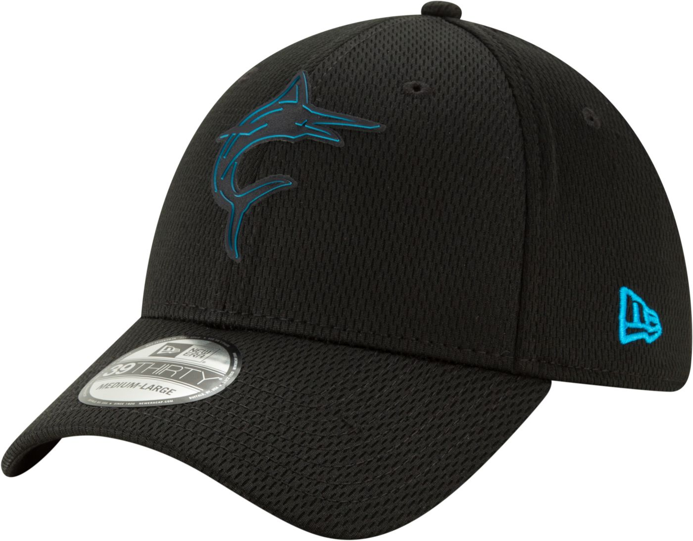 New Era Men's Miami Marlins 39Thirty Clubhouse Black Stretch Fit Hat