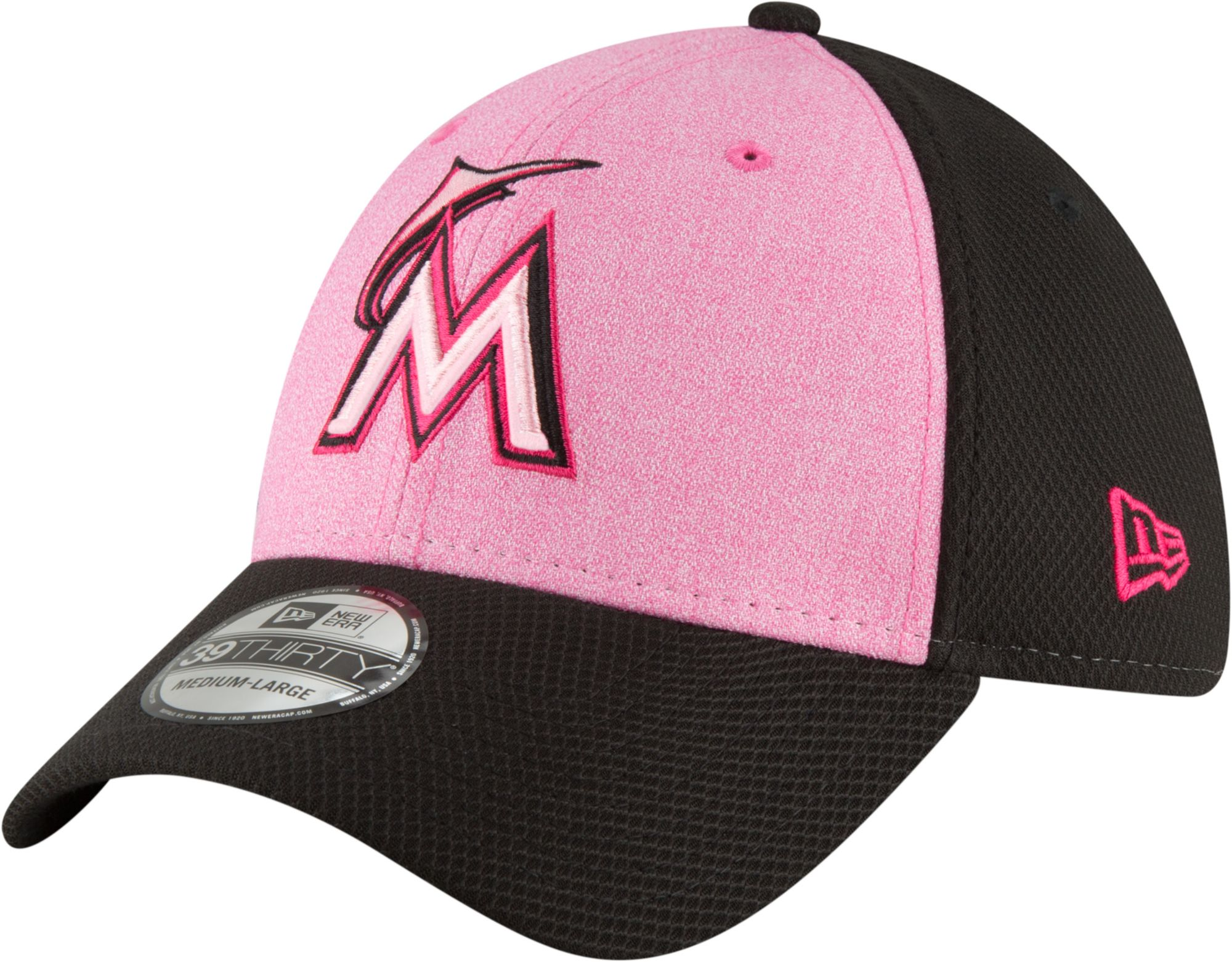 check out dd9ac 767d8 ... reduced inexpensive new era mens miami marlins 39thirty 2018 mothers day  stretch fit hat d509a 70140