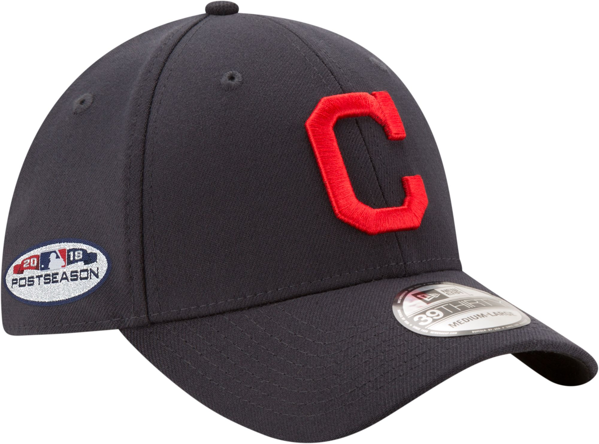 buy online 662d1 88623 ... discount code for new era mens cleveland indians 39thirty 2018 mlb  postseason stretch fit hat 1e204