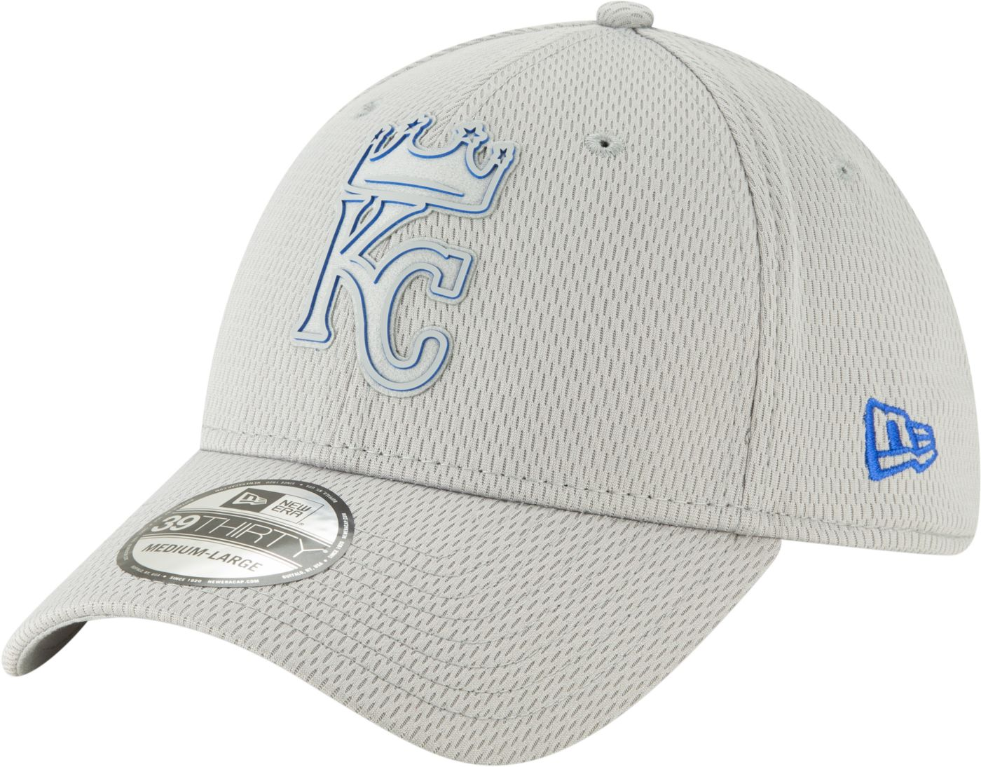 New Era Men's Kansas City Royals 39Thirty Clubhouse Grey Stretch Fit Hat