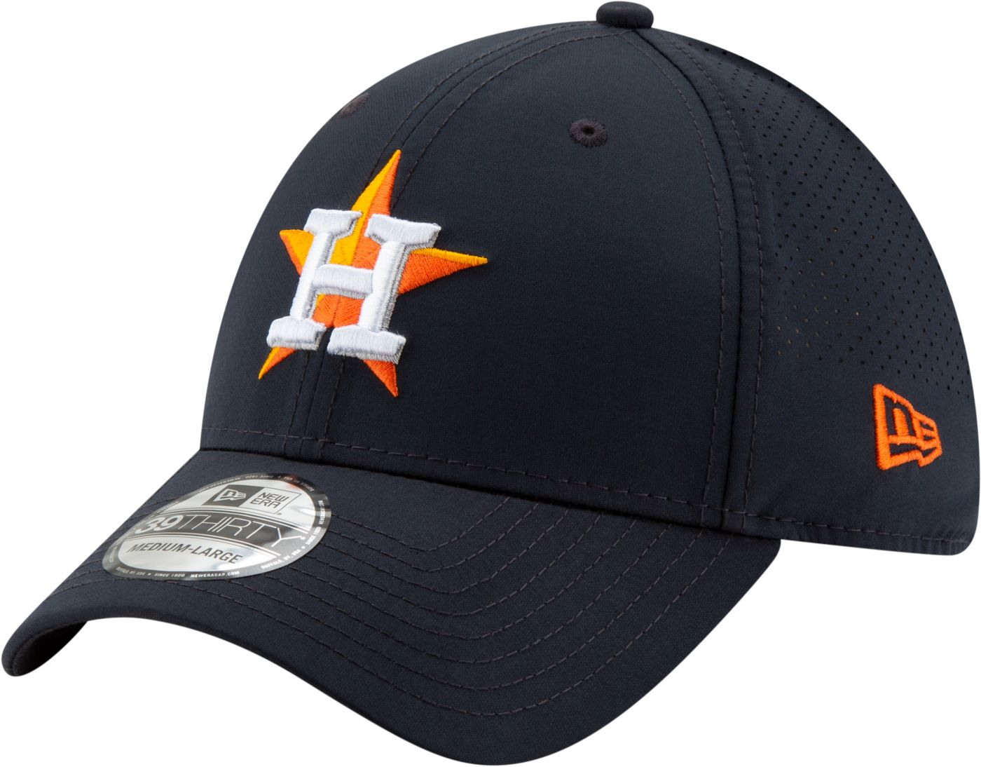 New Era Men's Houston Astros 39Thirty Perf Play Stretch Fit Hat