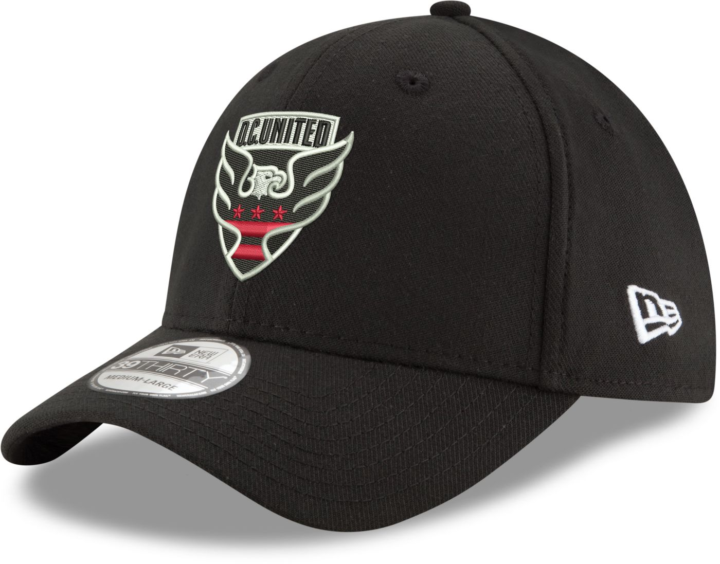 New Era Men's D.C. United 39Thirty Black Flex Hat