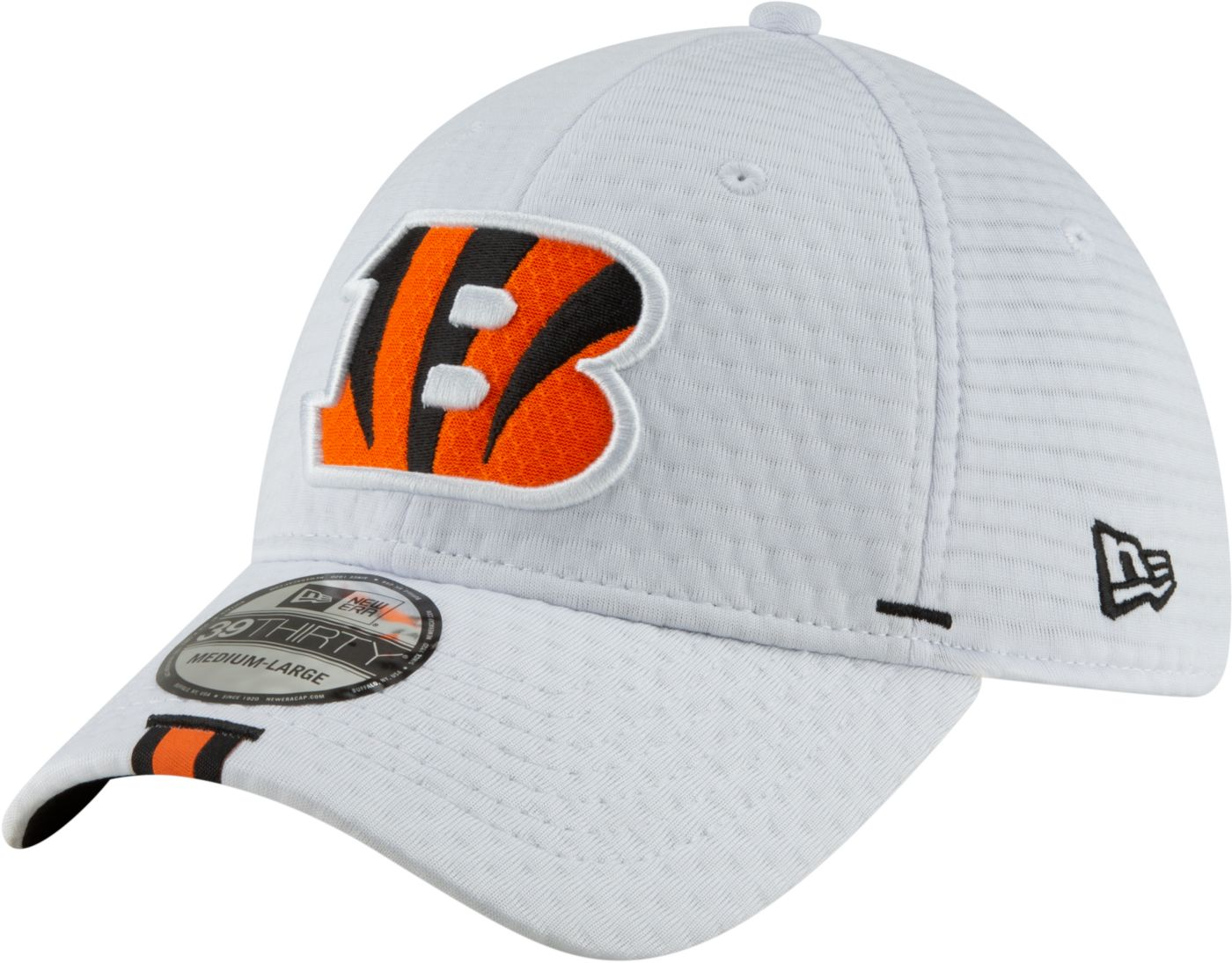 New Era Men's Cincinnati Bengals Sideline Training Camp 39Thirty Stretch Fit White Hat