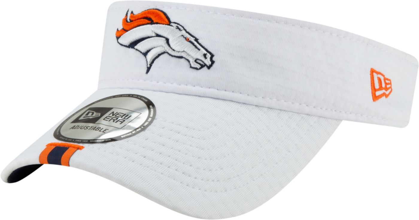 New Era Men's Denver Broncos Sideline Training Camp Adjustable White Visor