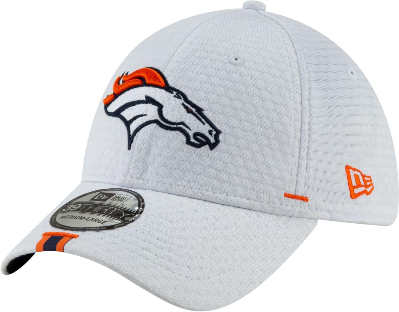 New Era Men's Denver Broncos Sideline Training Camp 39Thirty Stretch Fit White Hat