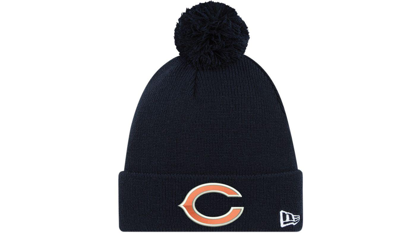 New Era Men's Chicago Bears Navy Cuffed Pom Knit