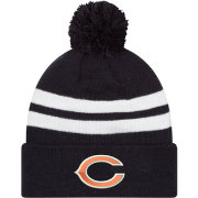 New Era Men's Chicago Bears Stripe Cuff Navy Pom Knit