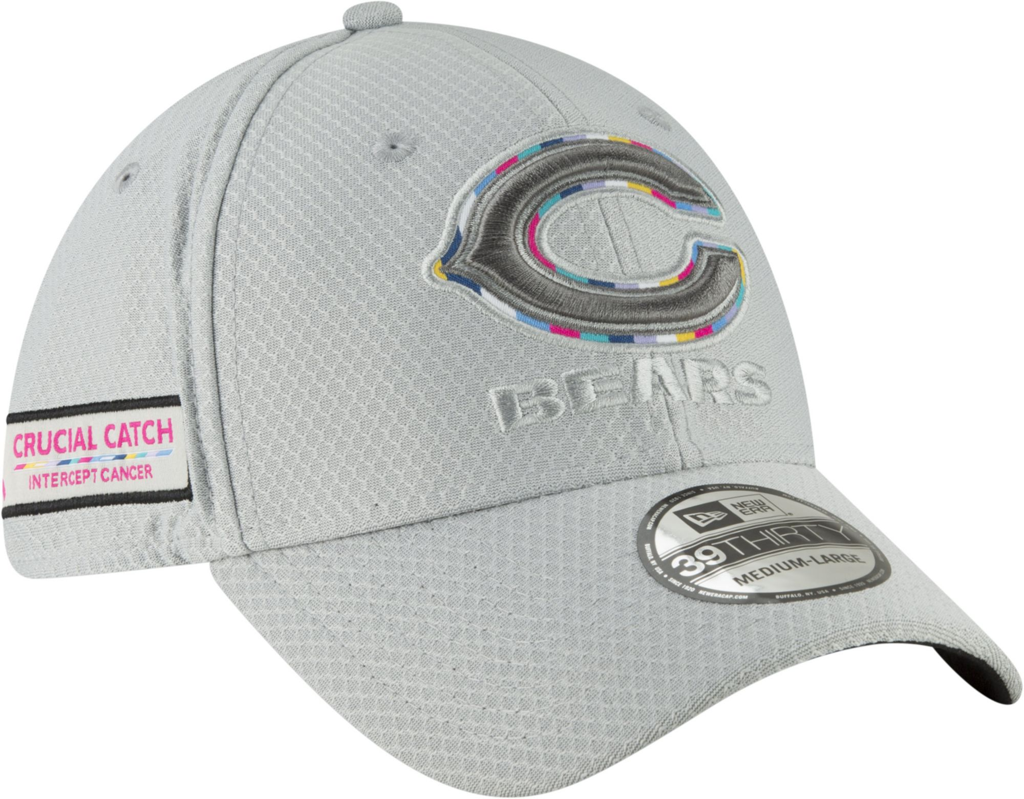 78126cd2f0862e italy new era mens crucial catch chicago bears sideline 39thirty white  stretch fit hat 81d28 4cfed
