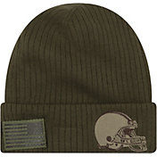 New Era Men's Salute to Service Cleveland Browns Olive Cuffed Knit