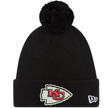 57bac5ebb New Era Men's Kansas City Chiefs Black Cuffed Pom Knit
