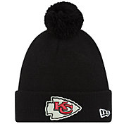 New Era Men's Kansas City Chiefs Black Cuffed Pom Knit