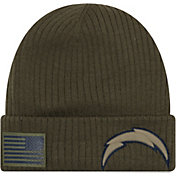 New Era Men's Salute to Service Los Angeles Chargers Olive Cuffed Knit