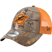 New Era Men's Miami Dolphins Real Tree 9Forty Orange Camo Adjustable Trucker Hat
