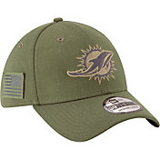 New Era Men's Salute to Service Miami Dolphins 39Thirty Olive Stretch Fit Hat