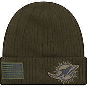 New Era Men's Salute to Service Miami Dolphins Olive Cuffed Knit