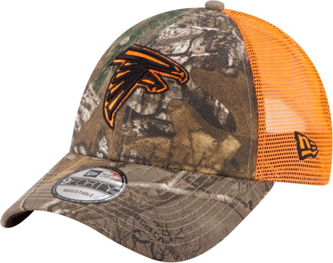 945d5eba New Era Men's Atlanta Falcons Real Tree 9Forty Orange Camo Adjustable  Trucker Hat 1