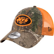 New Era Men's New York Jets Real Tree 9Forty Orange Camo Adjustable Trucker Hat
