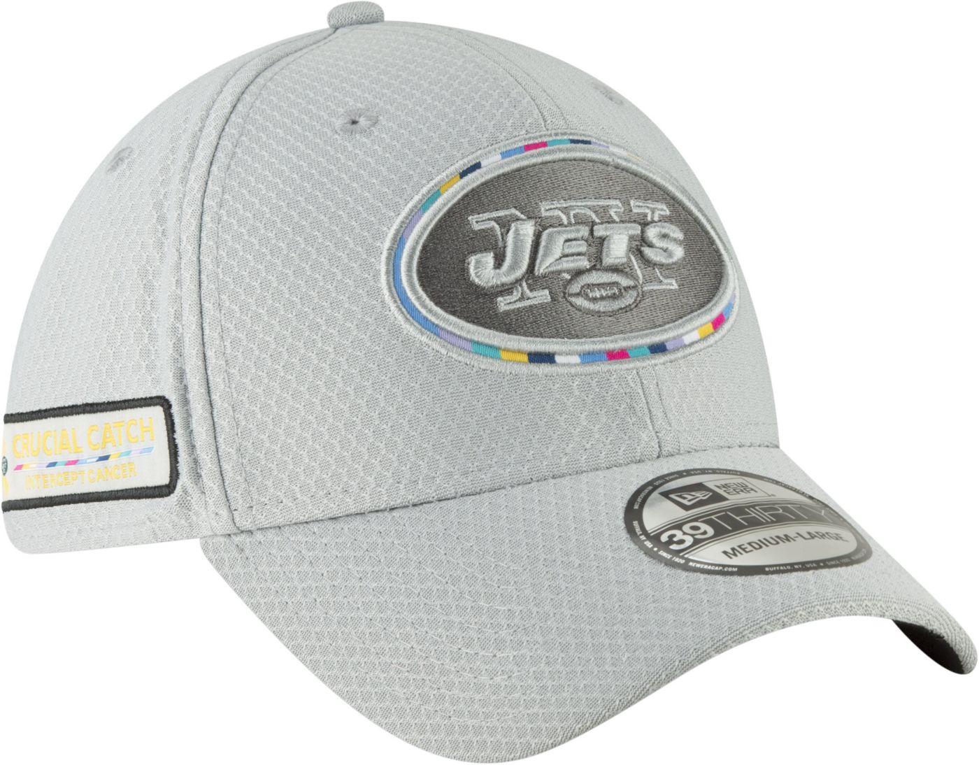 New Era Men's Crucial Catch New York Jets Sideline 39Thirty White Stretch Fit Hat
