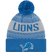 New Era Men's Detroit Lions Wintry Blue Pom Knit