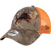 New Era Men's Detroit Lions Real Tree 9Forty Orange Camo Adjustable Trucker Hat